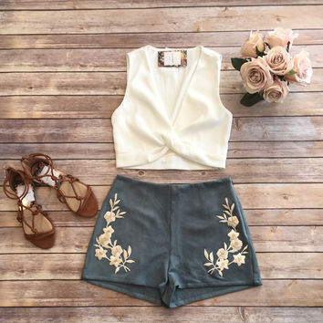 White Twist Front Crop Top