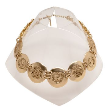 Hammered Coins Collar Necklace in Gold