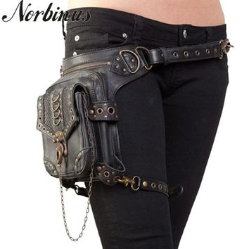 Norbinus Gothic Women Leather Messenger Bags Motorcycle Waist Packs Thigh Hip Belt Holster Bags Steampunk Shoulder Crossbody Bag