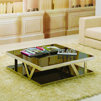 J&M Furniture Modern Coffee Table 929 in Glass & Steel