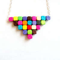 Neon Pixel Necklace - Triangle Rainbow Geometric Wood Bib Handmade Necklace
