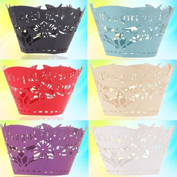 12PCS Cupcake Wrappers Flower and Words Cupcake Paper Wraps Cases Cookie Cupcake Wrappers for Party Cake Decoration