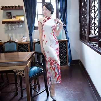 Shanghai Story Short Sleeve national trend Dress Floral cheongsam Long Qipao chinese traditional dress For Women
