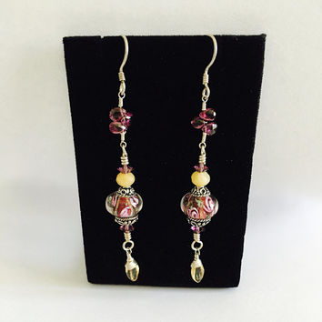 Gorgeous. Elegant, BoHo, Gypsy,  Silver French Hook Earrings, Lavender Purple Swarovski Crystal, Murano Glass and Lamp Work Bead Earrings