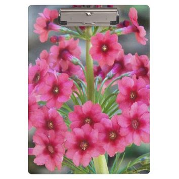 Red Primula Floral Clipboard
