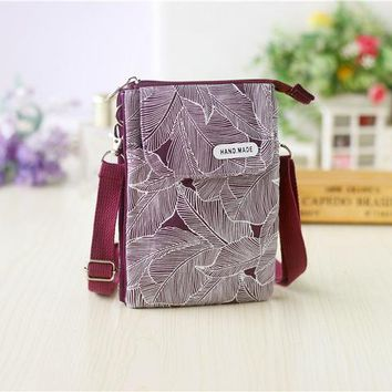 School Backpack Canvas leaves printing children school bags kids travel crossbody messenger phone bags money pouches for kindergarten baby girls AT_48_3