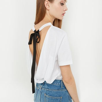 White Summer Sexy Backless Round-neck Short Sleeve T-shirts [9022453892]