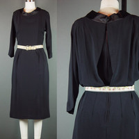 50s Black Dress Vintage 1950s Crepe Draped Back Cocktail Party M L