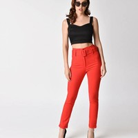 1950s Pinup Style Red High Waist Belted Cigarette Pants