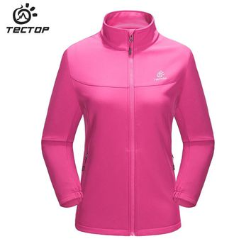 Tectop Soft shell Jacket Female Autumn Spring Windproof waterproof Breathable Outdoor Sport Climbing Hiking Camping For Women
