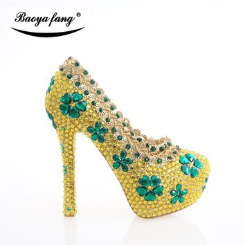 Thin heel New arrival Yellow Crystal Women Wedding shoes Bride Party dress shoes high heels Woman shoes rhinestone handmade shoe