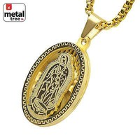 "Jewelry Kay style Stainless Steel Oval Virgin Mary Guadalupe 3D Pendant 24"" Box Chain SCP 150 G"