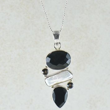 Black Onyx and Pearl Multi Gemstone Pendant Necklace in Sterling Silver
