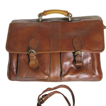 Vintage Hidesign Leather Briefcase Messenger Portfolio Carrier Travel Book Bag