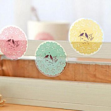 2 sheet/lot Round DIY Envelope Seal Phone Decal Stickers Cute Stationery Scrapbooking Paper Lace Album Diary Decoration Stickers