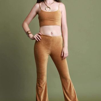 Corduroy Crop Top and Flared Pants Set