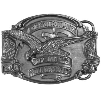 Sports Accessories - If Guns are Outlawed... Antiqued Belt Buckle