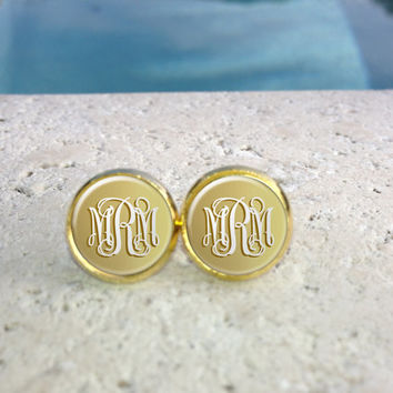 Gold Monogram Earrings, Monogram Jewelry, Monogram Accessories, Monogram Studs, Monogram Leverbacks, Gifts