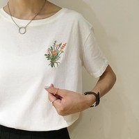 Embroidered Flower Tee