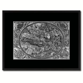 Christian Celestial Hemisphere Vintage Monochrome Map Canvas Print, Gifts Picture Frames Home Decor Wall Art
