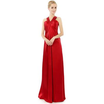 Elegant Red Satin Halter Pleats Prom Dresses Long Prom Dresses Floor Length Cocktail