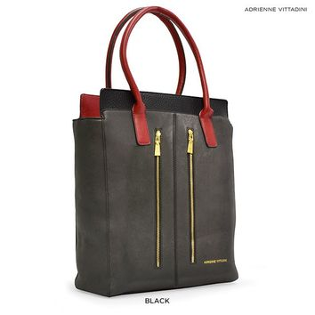 Adrienne Vittadini Double Zip Shopper Tote - Assorted Colors