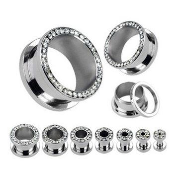 ONETOW Stainless Steel Screw Fit Ear Gauge Plugs Flesh Tunnel Kit Piercing Hollow Expander Body Jewelry