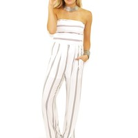 Olivaceous Stripe Jumpsuit in White/Navy Stripe