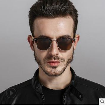 HJ men's bamboo wooden sunglasses in vintage style and polarized UV protection colorful lens sunglasses
