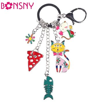 1 pc Silver Tone Fish Mouse Cat Marvel Keychain 5 Colors