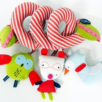 candice guo! super cute glasses bear owl duck activity spiral colorful baby toy bed round rattle birthday gift 1pc