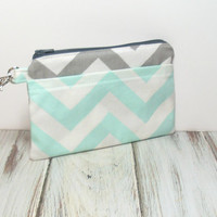 iPhone Clutch - Mint and Gray - Cute Clutch Bag - Womens Clutch - Cell Phone Wallet - Chevron Bag - Clutch Purse - Summer Clutch - Clutch