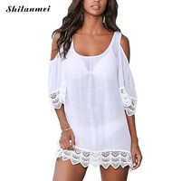 2017 New Round neck women beach cover up white cover ups solid cover-up patchwork mujer female above knee swimming suit