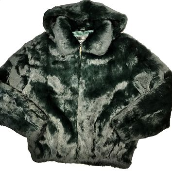 Kashani Olive Green Rabbit Fur Hooded Bomber Jacket