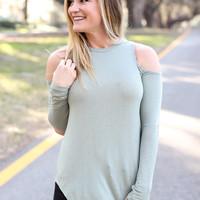 Knockout Cold Shoulder Top - Sage