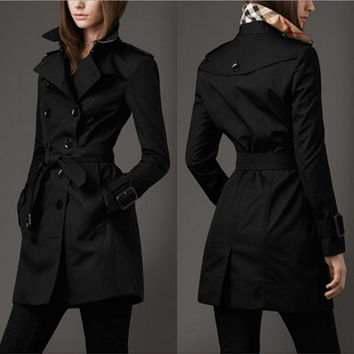 Double-breasted fashion lapel coat