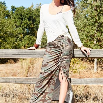 Good Feelings Tie Dye Skirt - Camo