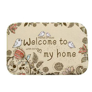 Birds Artsy Welcome Mat Outdoor Indoor Antiskid Decor Doormat Bathmat Kitchen Mat