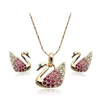 Signore-Signori Swan Pendant Necklace & Earrings Jewelry Set With Swarovski Crystal 18k Gold Finish