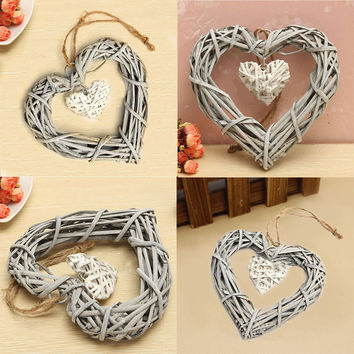 1Pc Chic Wicker Heart Wreath Wedding Birthday Party Wall Hanging Wreath DIY Party Decoration
