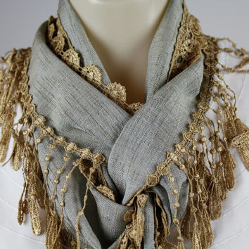 Lace Fringe Scarf - Desert Sand Colored Lace Fringe on Gorgeous Slate Blue Semi-Sheer Fabric - Accessory Gift - Lacey Scarf