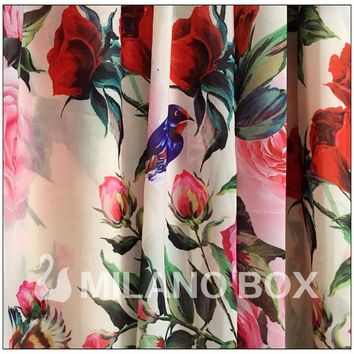 Runway Maxi Dress High Quality Women's Long Sleeve Sequined Beading Rose Floral Bird Printed Long Dress With Scarf