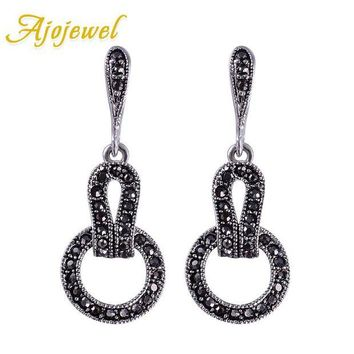 ac spbest Ajojewel Brand Black CZ Vintage Jewelry Women Geometric Earrings Female Gift Bijouterie Costume Jewellery