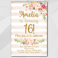 16th Birthday Invitation, Peach Stripe Gold Invitation, Any age 13th 18th 21st 30th 40th 50th, etsy invitation XA302ps
