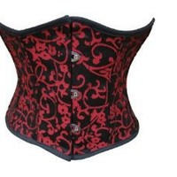 Shaper Corset Authentic Small Mini Red Brocade Spiral Steel Boned Waist Training Corset SC88051N