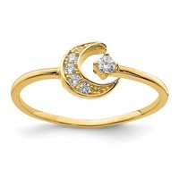 14k Yellow Gold Solid Petite CZ Moon Ring