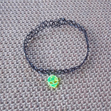 CHOKER: Neon Green Alien Tattoo Choker Necklace 90s Grunge Hip Trendy Goth Retro