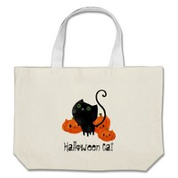 Halloween Cat with Pumpkins Tote Bags from Zazzle.com