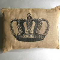 Crown Pillow, Old Burlap Pillow, Shabby Chic, Paris Apartment, Cottage Decor, Textiles,Farmhouse, Rustic