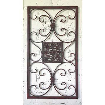 Architectural Find Iron Scroll Red Distress Iron Over Door / Window Topper Etienne